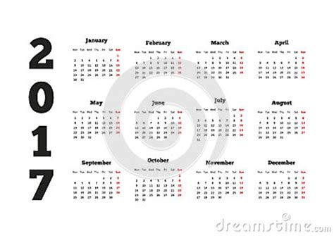 2017 Calendar Starting Monday Calendar On 2017 Year With Week Starting From Monday A4
