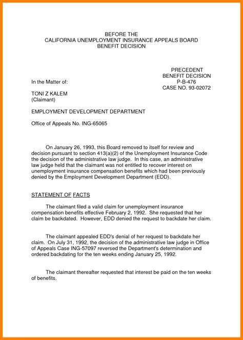 free unemployment appeal letter template how to write a workers compensation appeal letter