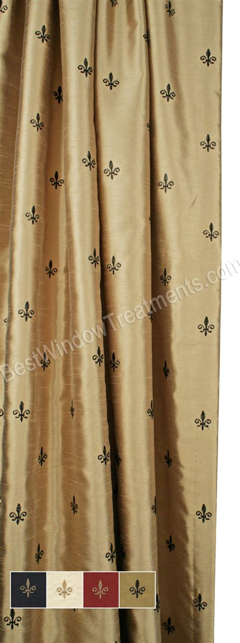 custom fleur de lis curtain panel lined