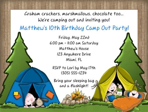 camp out invitations printable free camp out camping birthday party invitations camp out