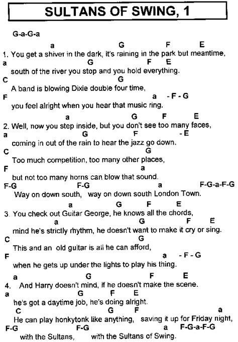 lyrics to swing rock hits lyrics chords for guitar players