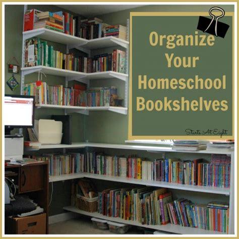 how to organize bookshelf organize your homeschool bookshelves startsateight