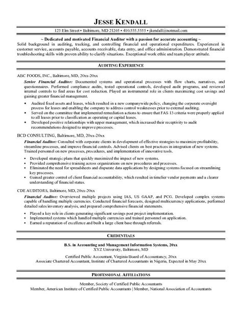 financial audit manager or financial auditor resume sle with resume objective and experience