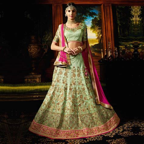 Buy Green   Pink Designer Silk Wedding Wear Lehenga for