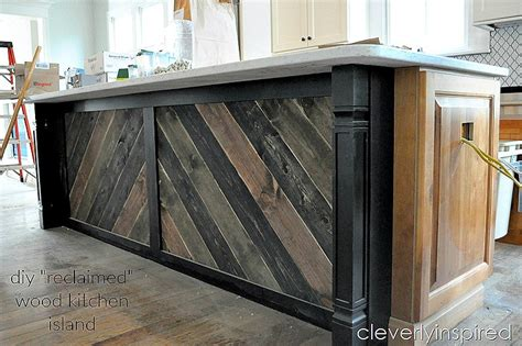 reclaimed kitchen islands diy reclaimed wood on kitchen island cleverly inspired