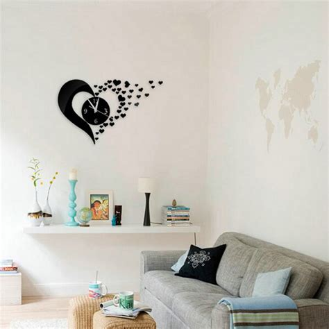 Wall Mirrors Stickers heart shaped wall clock mirror stickers wall decal modern