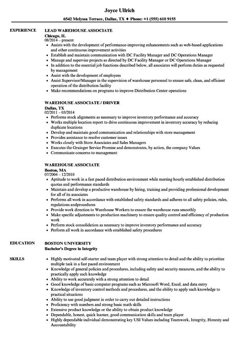 Warehouse Resume by Warehouse Associate Resume Sles Velvet