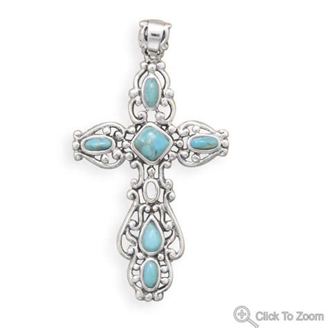 What Does Sterling Background Check Look For Ornate Sterling Silver And Turquoise Cross Pendant Genuine Gemstone