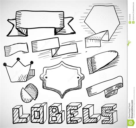 free doodle labels labels and design elements doodles stock vector