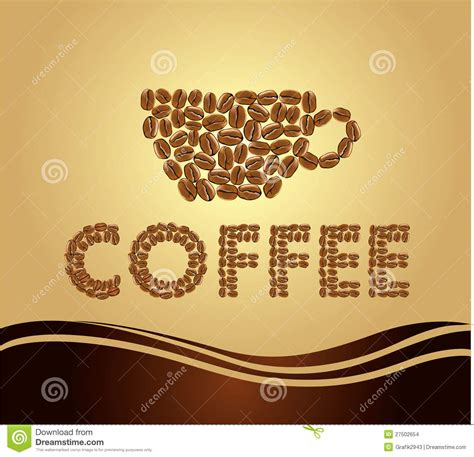 coffee names background coffee name with beans stock images image 27502654