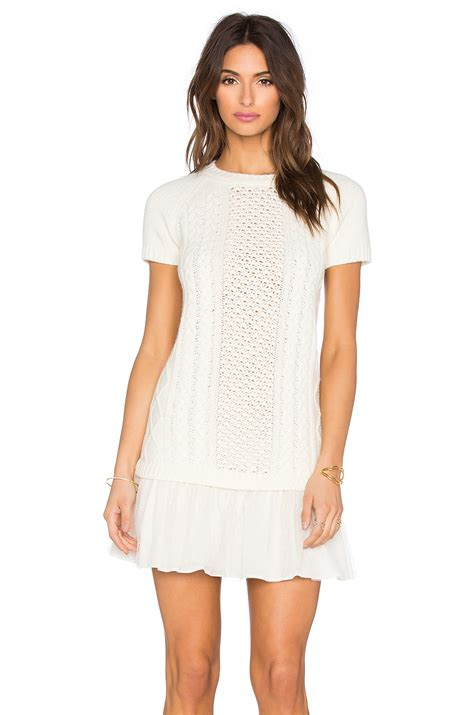 white knit dress valentino cable knit sweater dress in white lyst