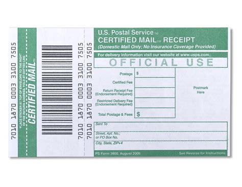 usps green card template certified mail receipt
