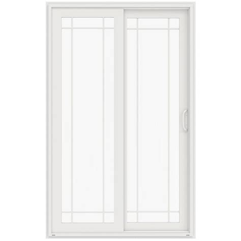 96 Inch Sliding Patio Doors Jeld Wen 60 In X 96 In V 4500 White Prehung Left Sliding 9 Lite Vinyl Patio Door