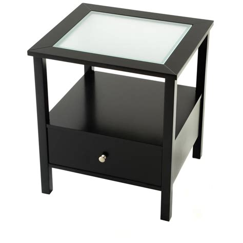 Shelf Hooks Entryway End Table With Glass Insert Top And Drawer 236456