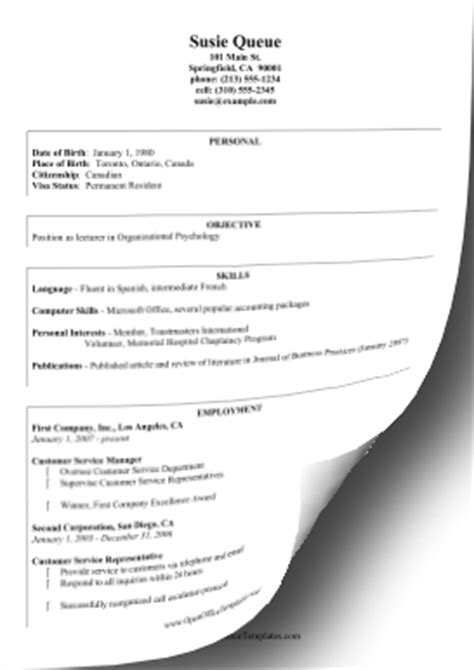 template curriculum vitae open office international curriculum vitae openoffice template