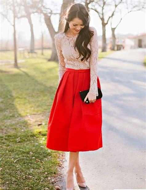 ideas to wear knee length skirts in trendy ways