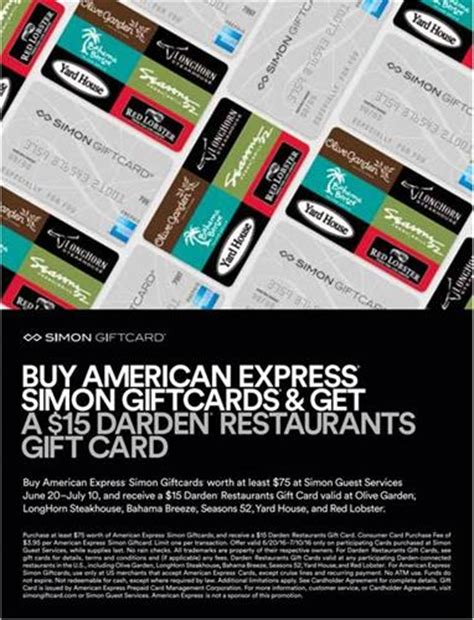 Darden Gift Cards - cincinnati premium outlets american express darden restaurant card promotion jun