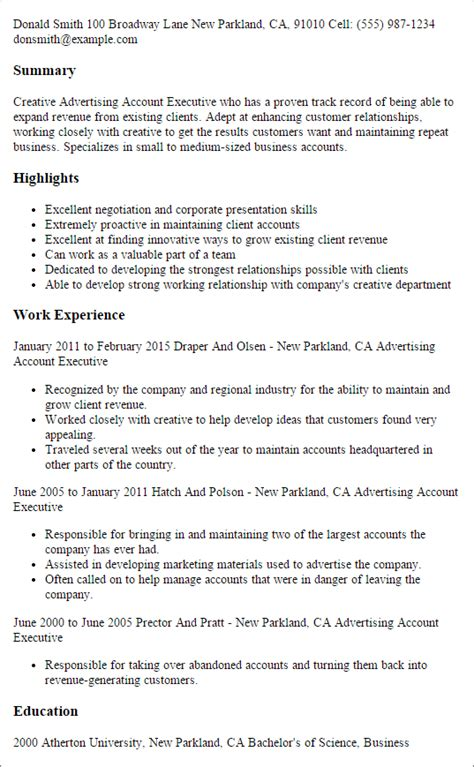 account executive resume template advertising account executive resume template best