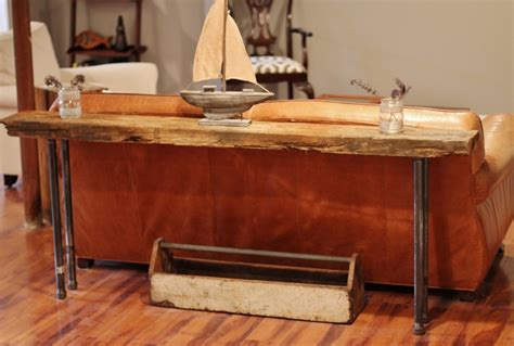 diy rustic sofa table rustic wood iron table diy picklee