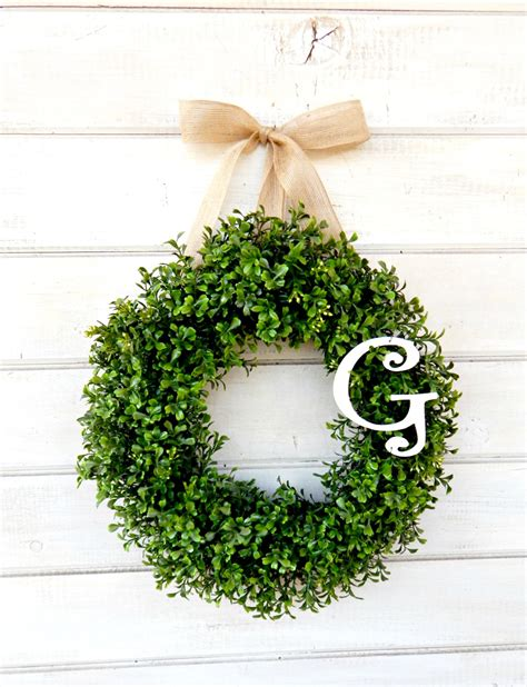 Boxwood Wreath Monogram Wreath And Monogram Wreath Boxwood Wreath Winter Wreath Monogram Door