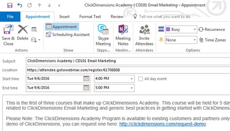 Add Outlook Calendar To Add An Outlook Calendar Event To An Email Template