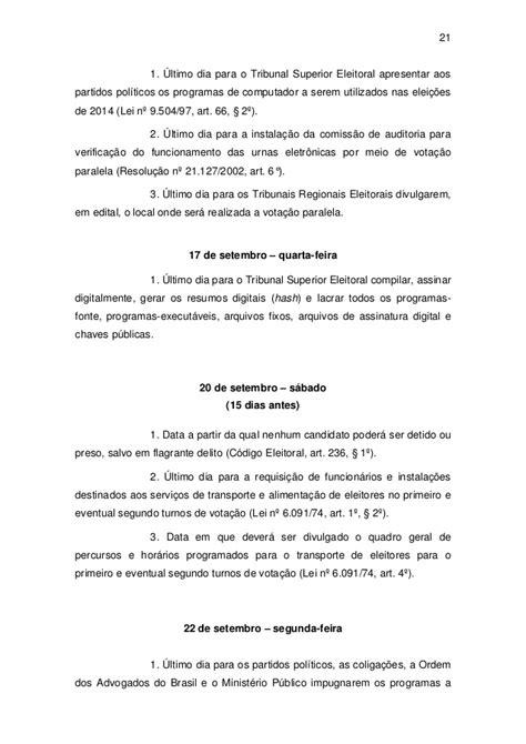 Eleições 2014 - Calendário Oficial - TSE (na íntegra)