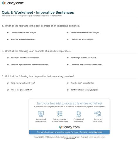 Or Question Exles Quiz Worksheet Imperative Sentences Study