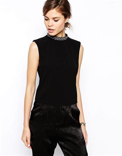 Ee Zara Blouse Rumbai 1 asos high neck top with embellished neckline in black lyst