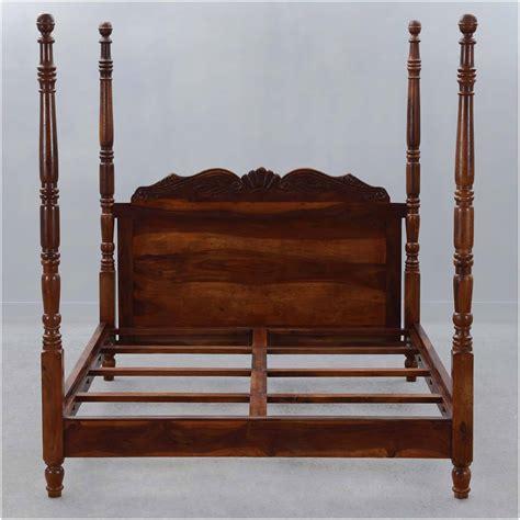 solid wood four poster platform bed frame w