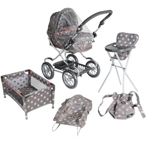 Baby Doll Stroller Crib And Highchair by Mamas Papas Graziella Polka Dot Complete Baby Doll Care