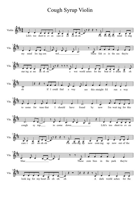 cough syrup song cough syrup sheet music musescore