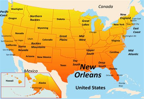 usa map states new orleans new orleans map showing attractions accommodation