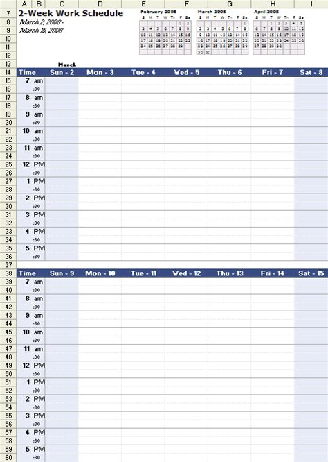 work planner template work schedule template for excel