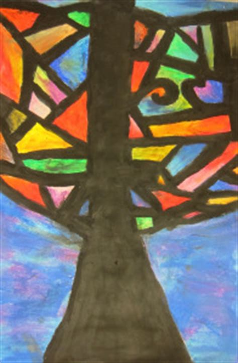abstract oil pastel trees 4th 5th grade
