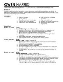 Resume Exles For Server Position by Unforgettable Server Resume Exles To Stand Out Myperfectresume
