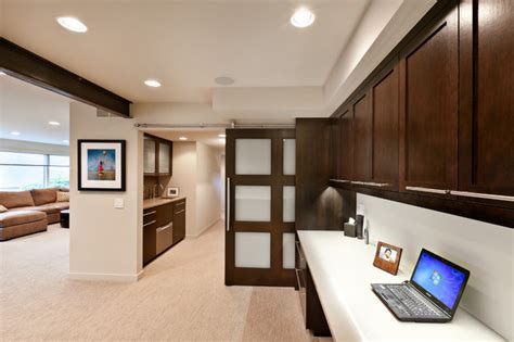 somerset basement sliding track door contemporary home office