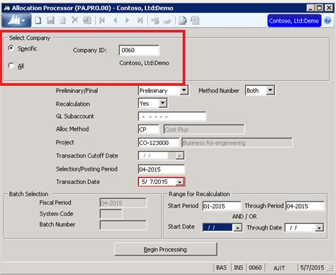 microsoft dynamics sl multi company features in sl2015