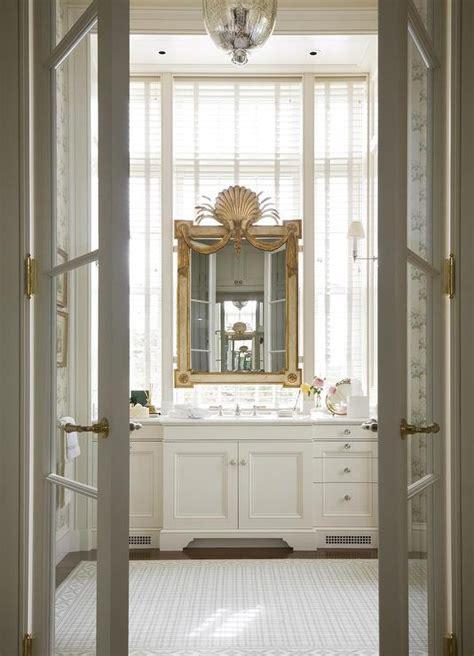 french doors  master bathroom transitional bathroom