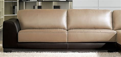 brown and tan sectional couch sf6573 brown tan full leather sectional sofa by at home usa