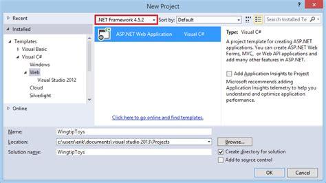 design form asp net create the project microsoft docs
