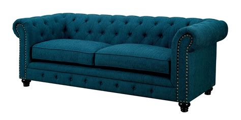 teal sofa furniture of america stanford dark teal fabric sofa set