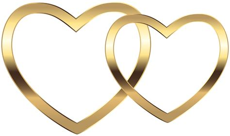golden couple have big hearts transparent two gold hearts png clip art image gallery