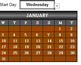 Any Year Calendar Excel
