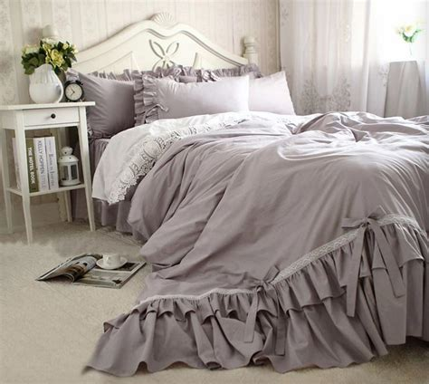 gray ruffle bedding grey ruffle bedspread reviews online shopping grey