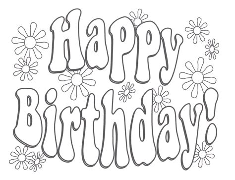 happy birthday coloring pages only coloring pages