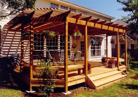 backyard deck design with open roof wood backyard design