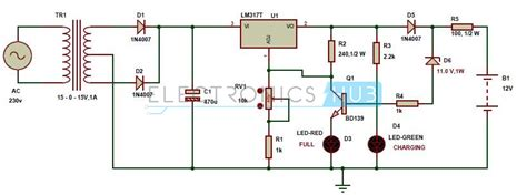 battery charger schematic automatic 12v portable battery charger circuit using lm317
