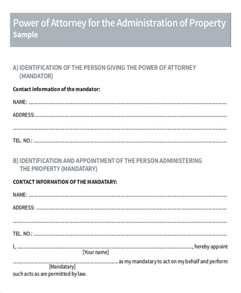 power of attorney template 11 power of attorney templates free sle exle