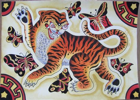 korean tattoo school korean tiger in folk art inkstains pinterest folk