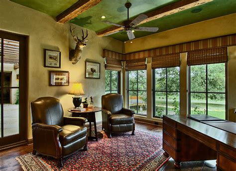 country office hill country ranch study traditional home office